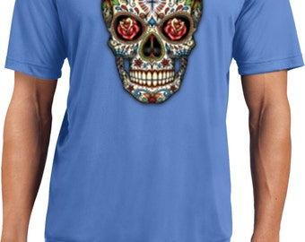 Men's Skull Shirt Sugar Skull with Roses Men's Moisture Wicking Tee T-Shirt-WS-16553-ST350