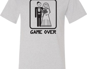 Black Game Over Mens Tall Tee T-Shirt BGAMEOVER-PC61T
