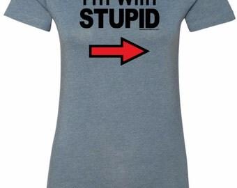 I'm With Stupid Black Print Ladies Longer Length Tee T-Shirt BLKSTUPID-6004
