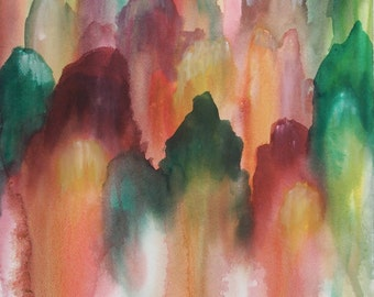 """Original Abstract Watercolor Painting, Amass, 14"""" x 20"""""""