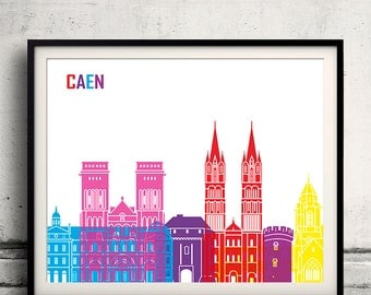 Caen pop art skyline 8x10 in. to 12x16 in. Fine Art Print Glicee Poster Gift Illustration Pop Art Colorful Landmarks - SKU 1106