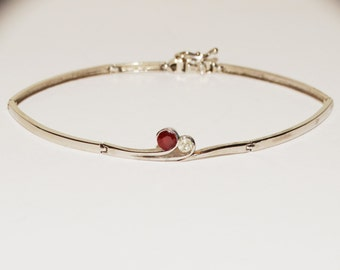 "14k WG Earth Mined Diamond/Ruby 7.5"" Elegant Bracelet."