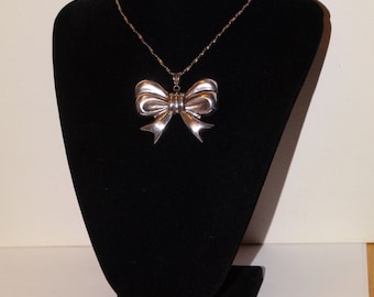Sterling Stamped Huge Large Bow Pendant