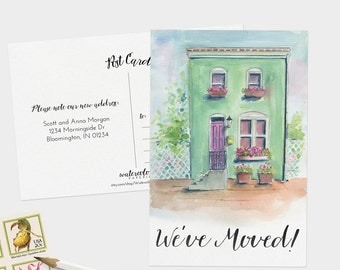 We've Moved Postcards - Watercolor Moving Announcement Cards - Set of 15, 30, or 60 - Change of Address