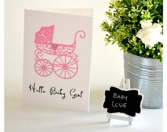 Hello Baby Girl Card, Hello Baby Card, Baby Girl Card, Personalised Baby Card, New Parents Card, Greeting Card Handmade, New Baby Gift Card