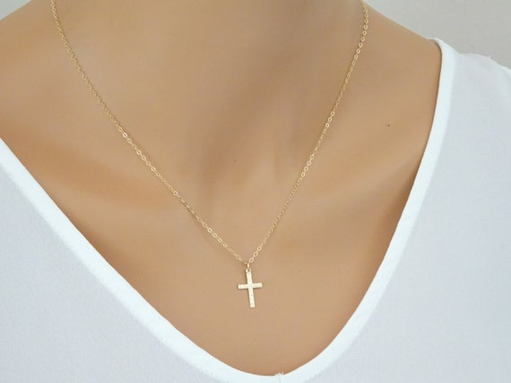Gold fill Cross Necklace Baptism necklace Baby Christening