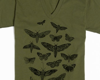 Butterfly T-shirt - Graphic tee - Men's T-shirt - Women's T-shirt - Moth Shirt - Insect tee - Vneck