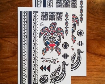 Temporary tattoos - The Maori Warrior // Tribal tattoos // armband // Party Favors