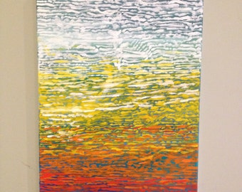 """Abstract Fall Colors Painting / Water-like Ripples and Reflections / Acrylic on canvas / 12"""" x 16"""""""