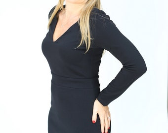 Black mini casual Dress  little black dress a line winter dress with long sleeve and texture