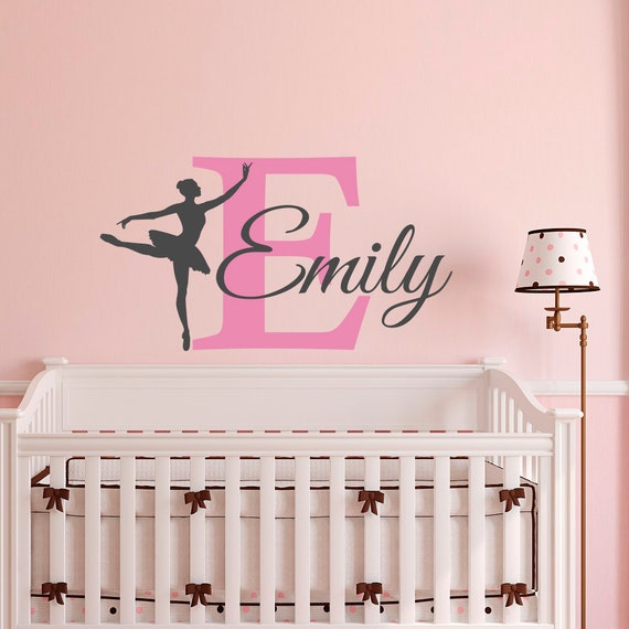Ballerina wall decal girl personalized custom name ballet for Personalized kids room decor