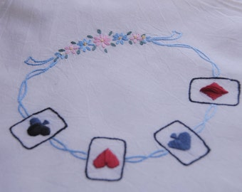 Vtg Bridge / Card Table Cover Hand Embroidered w / corner leg ties