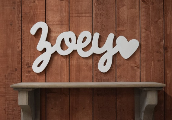 Zoey Baby Name Wooden Sign With Heart Nursery Decor Baby