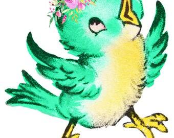 Green Bird Image, Cute Bird Cutout, VINTAGE BIRD IMAGE, Vintage Bird Cutout,Large Clipart,Transparent Background,Transfer Template,Supply