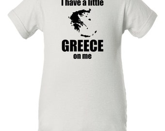 I have a little Greece on me baby bodysuit, Greek baby clothes, Greek infant bodysuit