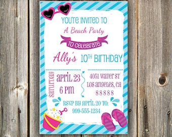 Printable Birthday Party Invitation, Girl's Beach Party Invitation, Digital Invitation, Birthday Invitation Printable, Invitation for Girls