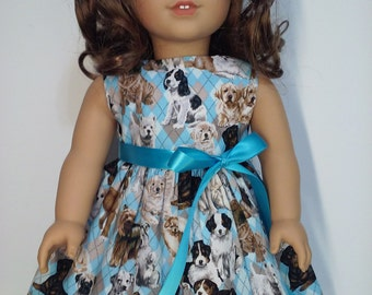 """18"""" Doll Clothes -Handmade - Puppies Dress"""