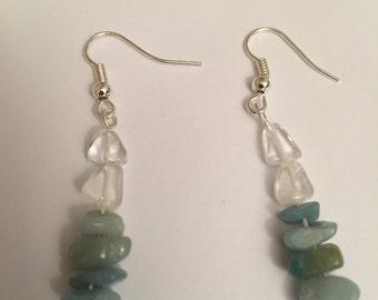 Quartz and Amazonite earrings