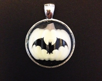 Black and White Bat Pumpkin Halloween Resin Pendant, Silver Color.