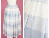 Vintage Prophecy, 70s, 50s Retro Skirt // 1970s, 1950s, Midi Length, Blue and White Stripes, Womens Size Small
