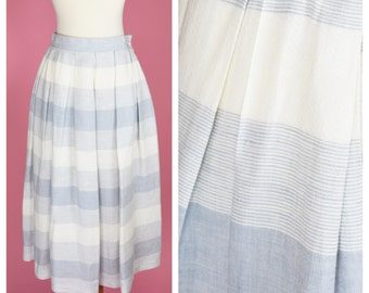 Vintage 70s, 50s Retro Skirt // 1970s, 1950s, Midi Length, Blue and White Stripes, Womens Size Small
