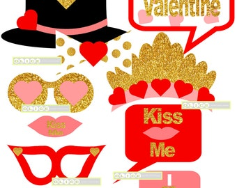 Valentine's Day Photo Booth Props, gold Valentine's day party props, Valentines props, Photobooth props, easy to cut Valentine decorations