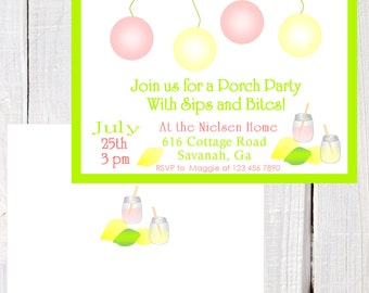 Summer Porch party Invitation, patio party invitation, vintage lemonade party, Summer party, patio birthday invitation, lemonade party
