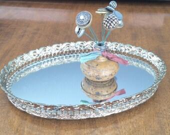 Gold Mirrored Tray Filigree Dresser Tray Vanity Tray
