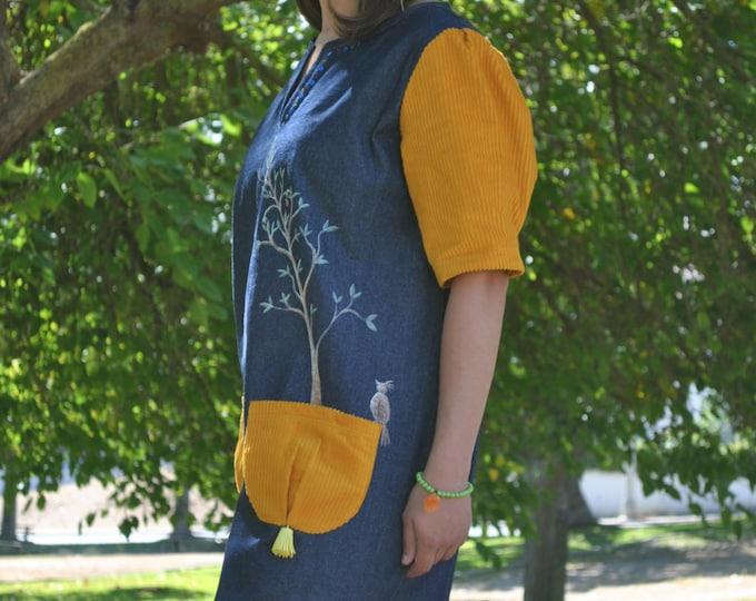Bird dress, dress bird, dresses, Denim dress, Womens clothing, dress, Hand painted, clothing, Vintage