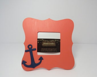 Coral Anchor Picture Frame,Anchor frame,wooden frame,picture frame,photo frame,