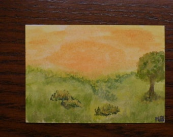 Dollhouse miniature-Sunrise watercolor miniature painting OOAK 1.8''x2.5''