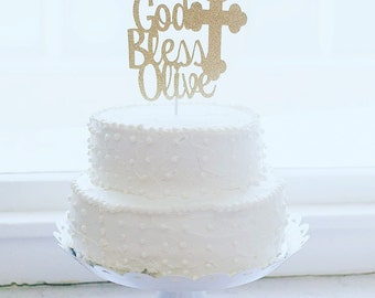 Christening Cake Topper, Baptism Cake Topper, God Bless Cake Topper, Baptism Decor, Personalized Topper, Dedication Cake Topper