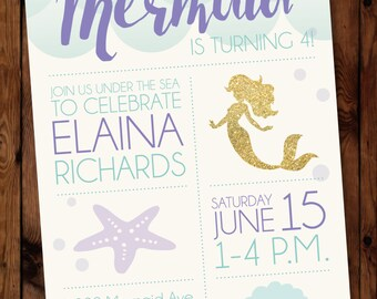Under the Sea Birthday Invitation, Little Mermaid Birthday Invitation, Mermaid Birthday Invitation #0003