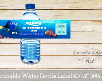 Water bottle label Finding Dory, water bottle label, Birthday Party Water Label, Printable Water Label for birthday party