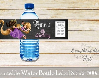 Tangled water bottle label, Printable labels, Rapunzel water bottle labels, Rapunzel birthday party, Tangled birthday party