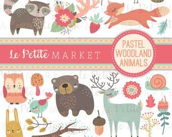 Cute Pastel Woodland Creature Clipart, Forest Animal Clipart, Woodland Nursery Forest Animals, Bird Owl Deer Bear Raccoon Fox Clip Art