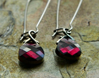 RTS Swarovski Briolette Dangle Earrings in Ruby Wine Red - Clearance - Last Pair