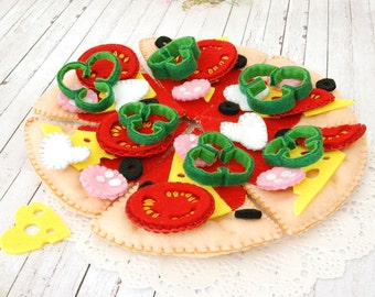Ready to ship - Felt Pizza Set, Felt Food children's, Felt Play Food for kids,toy kitchen pretend play, accessory for imaginative play
