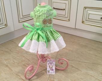 Light green checked dog dress Designer dog dress Custom made dog dress Birthday dog dress Cat dress