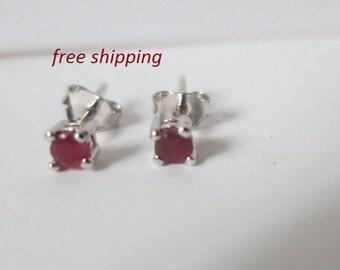 Silver ruby stud earrings, 92.5 sterling silver