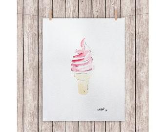 "ORIGINAL watercolor painting ICEW CREAM A4 210 X 297 mm (8,3"" x 11,7"")"