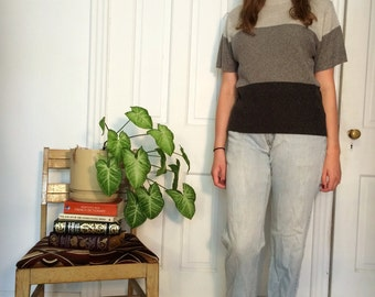 vintage 90s colorblock grey/black short sleeve turtleneck top