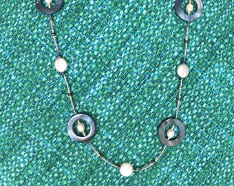 Blue Mother of Pearl Circles with Peals