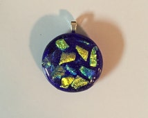 """Dichroic """"Mermaid Magic"""" fused glass & 925 sterling silver pendant on cotton necklace or silver chain"""