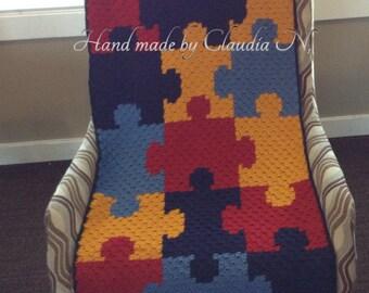 Crochet Wrap autism awareness puzzle