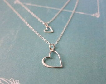 Mother and Daughter jewelry,Open Heart charm necklaces,Gift for Mom,Heart Mother and Daughter necklace,Sterling silver