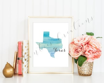 Texas State Teal Ombre Watercolor Printable Art. Texas State Love Printable. Texas Silhouette Outline Watercolor State.