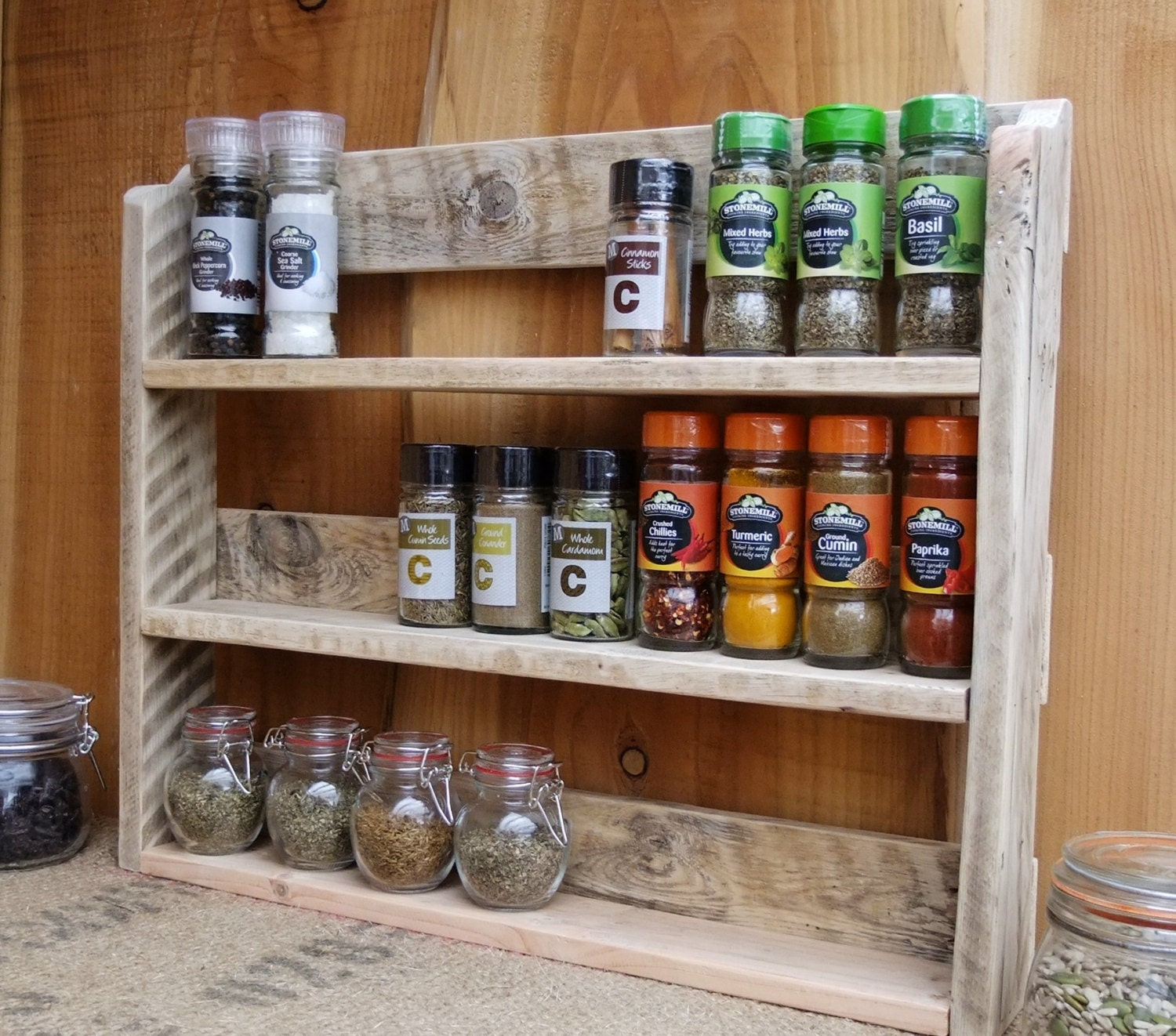 Spice Rack For Kitchen Cabinets: Large Rustic Spice Shelf / Kitchen Spice Rack / Herb Cabinet