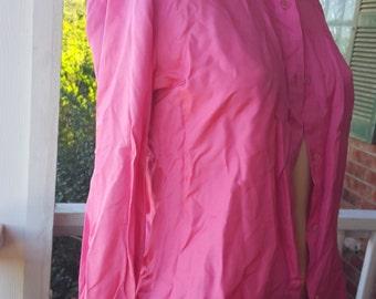 Vintage Henri Pierre Pink Silk Button up Blouse