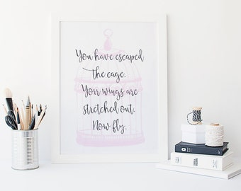 Rumi quote print - birdcage decor  - inspirational quote print - motivational poster - watercolour style print - typography